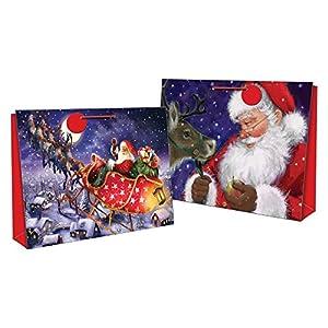"Set Of 2 Super Jumbo  Santa & Reindeer Christmas Gift Bags 18"" x 27"""