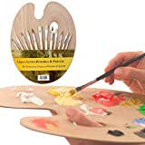 #8: Kurtzy Artists Oval Wooden Painting Palette With 12 Paint Brushes