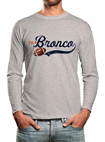 I'm a Bronco #1 Longsleeve Shirt Super Bowl Play Offs American Sports USA Langarm T-Shirt, Farbe:hellgrau (Sport Grey Heather);Größe:S (Super-bowl-shirts Langarm)