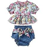 LEXUPE Säugling Baby Kind Mädchen Blume Rüschen Print Tops + Bow Shorts Outfits Set(Grün,70)