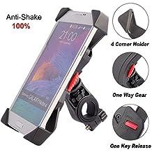 Anti de Shake Soporte de Teléfono para Bicicleta Motocicleta, iVoler Soporte Móvil Bicicleta Ultra Estable 4 Esquinas Cerradas Silicona Universal Con Rotación 360 Antideslizante para 3,5'' a 6,5'' de iPhone Android Smartphone