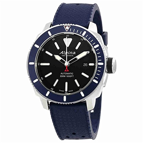 Alpina Men's Seastrong Diver 300 44mm Blue Rubber Band Steel Case Automatic Black Dial Watch AL-525LBN4V6