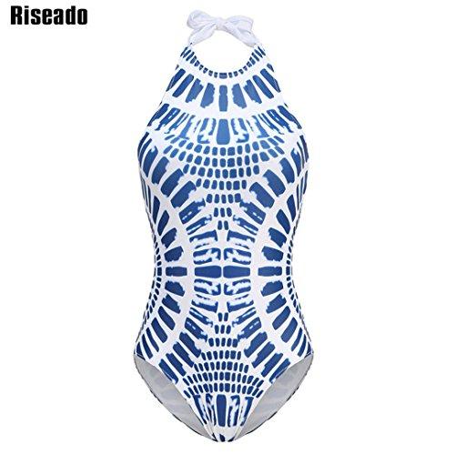 SWIWOTOER Hoher Kragen Sexy Bademode Frauen einen Badeanzug Cross-Back Halfter Schnürschuhe Bademoden Badeanzüge Body blau M -