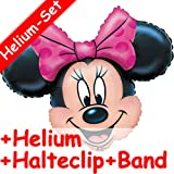 Folienballon Set * MINNIE MOUSE + HELIUM FÜLLUNG + HALTE CLIP + BAND * für Kindergeburtstag oder Motto-Party // SUPERSHAPE // Folien Ballon Helium Deko Ballongas Disney Minnie Maus