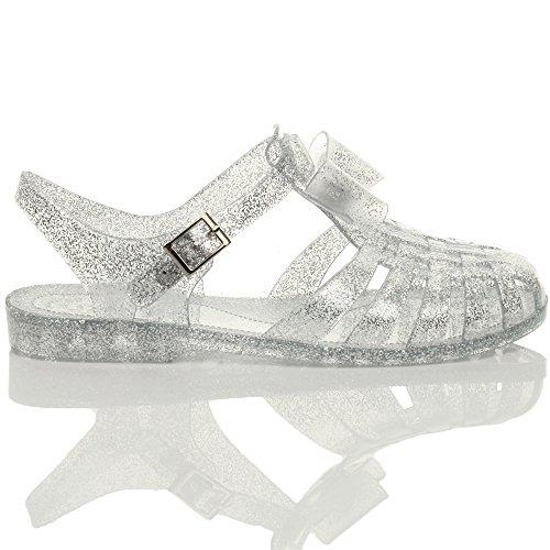 Ajvani Femmes talon bas plat caoutchouc 90 rétro nœud spartiate sandales gladiateur Transparente paillettes