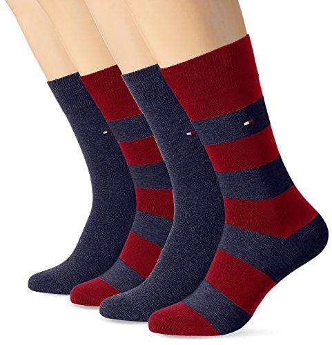 Tommy Hilfiger Herren Socken TH Men Rugby 2P, 2er Pack, Mehrfarbig (Winetasting 077), 39/42