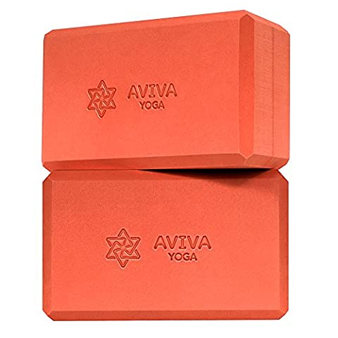 Yoga Blocks by AVIVA YOGA - Set of 2 Non Toxic EVA Foam Blocks and Free Yoga Block Bag. Support, Deepen Your Poses, Stretches or Exercises, and Gain Strength, Balance and Flexibility (Orange,