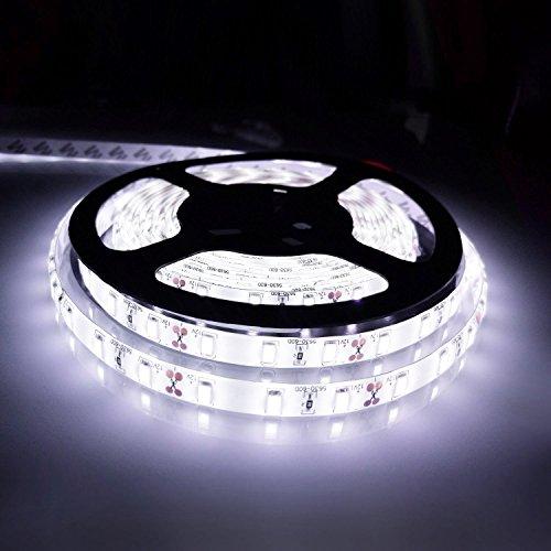 Ahevo - Tira de luz LED flexible, luz diurna de 5 metros, 300 ledes, 5630 SMD, 12 V CC, resistente al agua, IP65, más brillante que la cinta LED SMD, luz blanca, Blanco, loop-top, 60.00W 12.00V