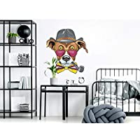 "Wall Decals""Chic Dog with hat and Whistle"" Pets Decoration Dog Paws Dog Space Living Room Bedroom Easy to Apply and Removed"