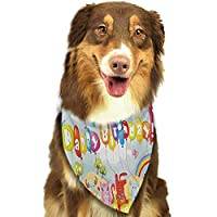 Pet Dog Scarf Kids Birthday Congratulation Best Wishes on The Blue Color Backdrop Party Balloons Print Scarf for Small and Medium Dogs and Cats