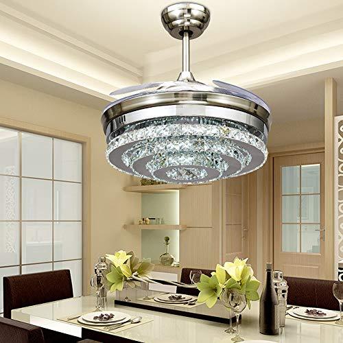 YZPFSD 3-Kreis Diamond Crystal Deckenventilatoren mit einziehbaren Lichtern 4-Blade-Fernbedienung Lights-42-Zoll-Lüfter Kronleuchter mit LED-Leuchten-für Indoor Outdoor (Silber) (Size : 42inch)