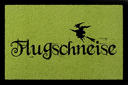 TÜRMATTE Fußmatte FLUGSCHNEISE Spruch Hexe Hallooween Flur Türvorleger Deko ()