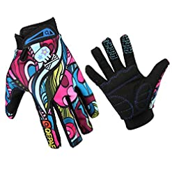 GZDL Men MTB Riding Mountain Bike Cycling Dirt Biking Glove Multicolor Outdoor Bicycle Full Finger Gloves