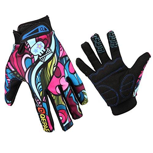 GZDL MTB equitación para bicicleta de montaña ciclismo multicolor Graffiti bicicleta dedo completo guantes