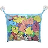 Sanwood Aufbewahrungsnetz für Badespielzeug zum Aufhängen + 2 Saughaken hellblau