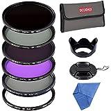 Beschoi 72MM Kit di Filtri(UV+CPL+FLD, ND2+ND4+ND8 Filtri a Densità Neutra)+Petalo Paraluce+Centro Pinch Copriobiettivo+Microfibra Panno Bianco Importato di Pulizia dell'Obiettivo+Sacchetto per Filtro(6 Slot per Filtro)10Pcs Accessori per DSLR Camera