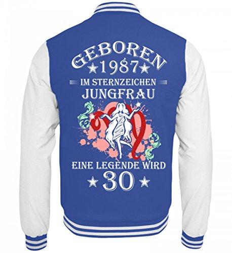 Blau Hochwertige Sternzeichen Sweatjacke wird Jungfrau College 30 Weiss pZ8fZqawx