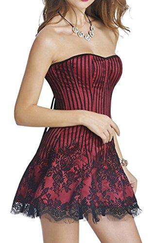 loveorama.de Damen Corsage Kleid Bridal Wäsche schnürt sich Satin Corsagenkleid, 4 Farbe