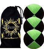 3x Palline da Giocoliere Pro - Set di 3 palline da giocoliere Deluxe (Camoscio) + borsa per il trasporto. Nero con Verde.