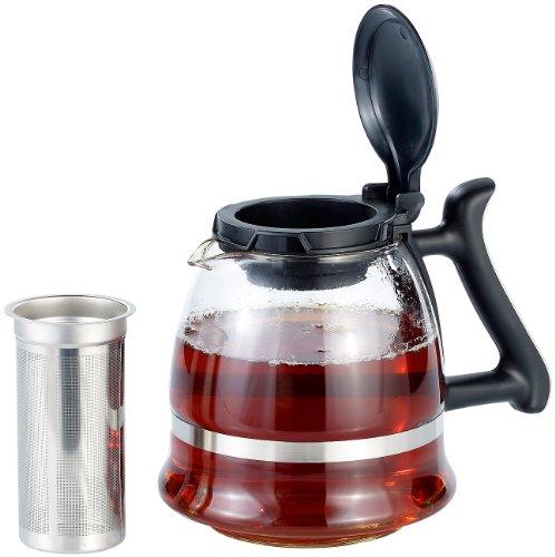 Teekanne aus Glas mit Edelstahl-Siebeinsatz, 1,5 l
