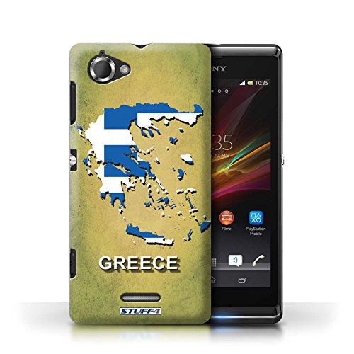 Kobalt® Imprimé Etui / Coque pour Sony Xperia L/C2105 / Suède/Suédois conception / Série Drapeau Pays Grèce/Grecque