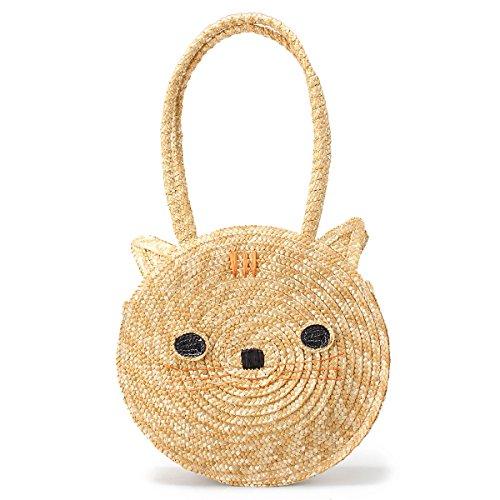 OURBAG Frauen Mädchen Süße Kleine Katze Strandtasche Damen Korbtasche Handtasche Khaki Mitte Khaki