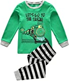 Kleinkind Jungen Schlafanzug, Kinder PJ-Sets, Jungen 100% Baumwolle langärmelige Nachtwäsche in Größen von 2 Jahren bis 7 Jahren (Zug - Grün, 4 Jahren/100cm Gross)