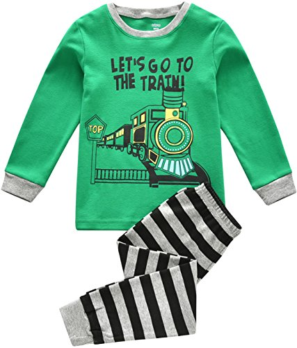 Kleinkind Boy Pyjamas, Kinder PJ-Sets, Jungen 100% Baumwolle langärmelige Nachtwäsche in Größen von 2 Jahren bis 7 Jahren (Zug - Grün, 7 Jahren / 130cm Gross) (Baumwolle Set Pj)