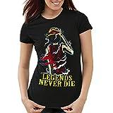 Legends Never Die Die - Luffy T-Shirt Damen, Farbe:Schwarz;Größe:M