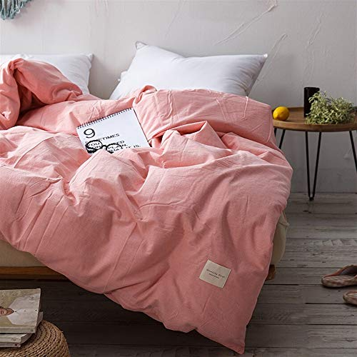 UOUL Bettwäscheset Baumwolle 4-teilig Japanisches Garn Farbe Rosa Solide Verblasst Nicht Komfort Männer Und Frauen Schlafzimmer Twin Voll,Pink,6Ft Bed -