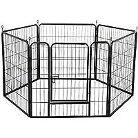Yaheetech Welpenlaufstall Tierlaufstall Laufgitter Tierlaufstall Absperrgitter 6 eckig, je Panel 80 x 80 cm