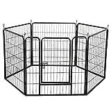 Yaheetech Welpenlaufstall Tierlaufstall für Kleintiere wie Hunde Katzen Kaninchen aus 6 Panlen Metall mit Tür