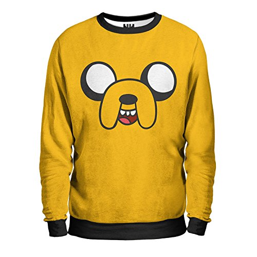 JAKE IL CANE Felpa Uomo - ADVENTURE TIME Sweatshirt Man - Jake & Finn Bmo Re Ghiaccio Cartoon Cartone Animato T-Shirt