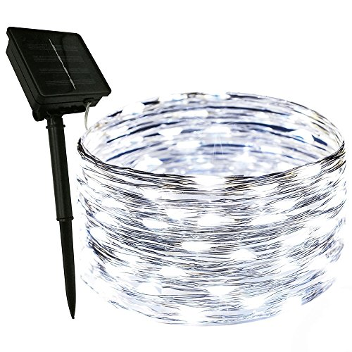 Dapenk Solar Outdoor String Waterproof Fairy Lights 100 LED 33FT Copper Wire Strip Lights (White)