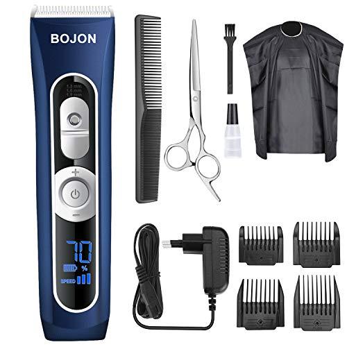 Haarschneider, BOJON Herren Profi Haarschneidemaschine Elektrischer Bartschneider Haartrimmer Präzisionstrimmer Männer mit Haarschneideschürze -