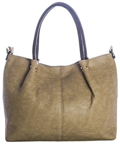 Big Handbag Shop 3-in - 1 Kunstleder-Handtasche Schultertasche Shopper, goldfarbene Schnallen Marineblau