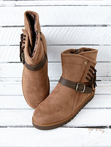 warm gefütterte Basic Damen Schuhe Flats Stiefelette Boots Halbschaftstiefel Fransen Velourhaptik Reißverschluss (8289) Camel