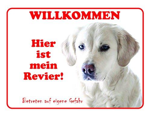 LUGUNO Labrador Türschild Hier Ist Mein Revier Mit Klebestreifen Geschenkidee Hundeschild 20x15 cm Weiß Hund Aluminium Witziger Spruch Warnschild Warnung