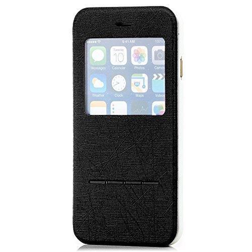 """Saxonia. Étui de protection à rabat pour iPhone 6 (4,7"""") - De qualité supérieure/Ultra-plat/Grande fenêtre/Côté articulé/Fonction support rose bonbon noir"""