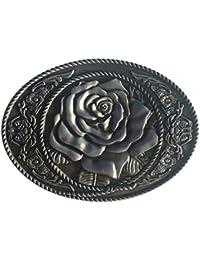 Bai You Mei Adulto Unisex Vintage Rosa correa de cinturón hebillas, Western Vintage hecho a mano hebillas de vaquero