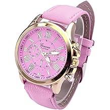 Relojes Pulsera Mujer,Xinan Cuarzo Romana Cuero de Imitación Relojes Regalo (Rosa)