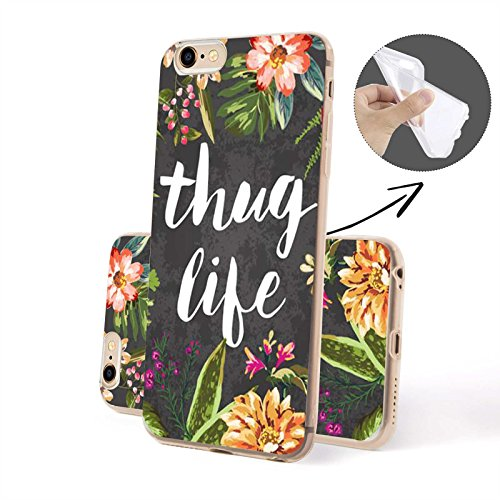 Finoo ® | Iphone SE Handy-Tasche Schutzhülle | ultra leichte transparente Handyhülle aus weichem und flexiblen Silikon | kratzfester stoßdämpfende TPU Schale mit Motiv | stylisches Cover Etui | Case B Thug Life SILIKON