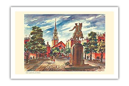 Alte Nordkirche - Boston, Massachusetts - Kalenderseite von United Airlines - Vintage Retro Welt Reise Plakat Poster von Joseph Fehér1948 - Premium 290gsm Giclée Kunstdruck - 61cm x 91cm - United Airlines Poster