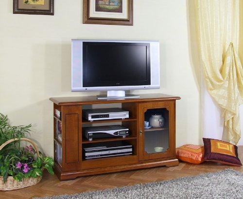 Mobile porta tv in legno, stile classico. mobile tv 1 anta in vetro e vani con ripiani, scaffalatura laterale, porta cd/dvd. per il salotto o la sala da pranzo. realizzato artigianalmente in italia.