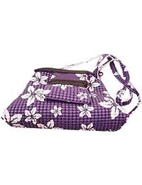 The Label By Deviya Komal Women's Faux Leather Texture Print Handbag(Two Pockets, Dark Purple)