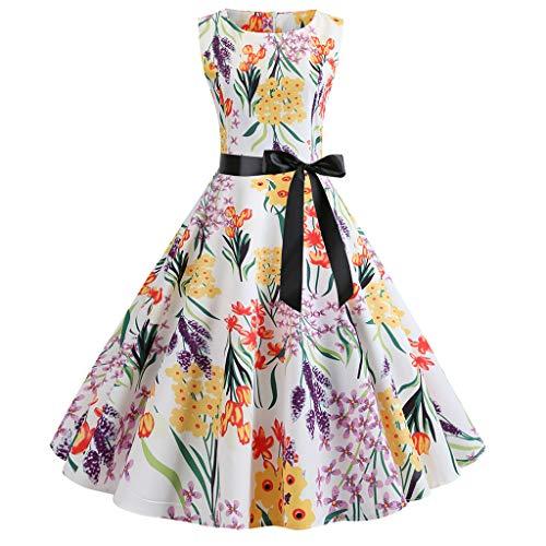 AIni Damen Vintage ÄRmelloses Elegant 50er Jahre Petticoat Kleider Gepunkte Rockabilly Kleider Cocktailkleider Partykleid Ballkleid Festkleid - Team Bekleidung Trikot Hat