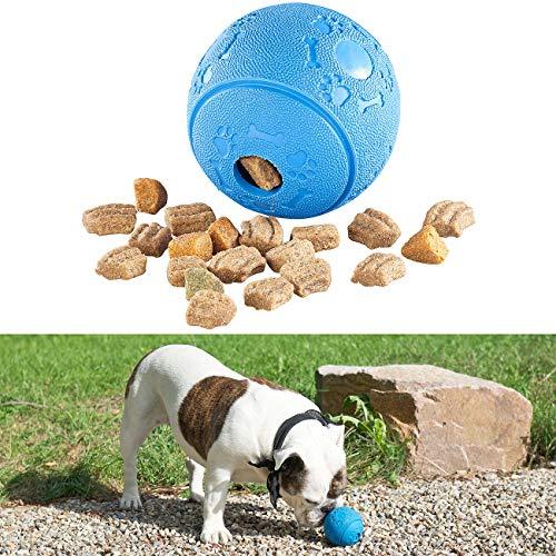 Sweetypet Snackball für Katze: Hunde-Spielball aus Naturkautschuk, mit Snack-Ausgabe, Ø 8 cm, blau (Hundespielzeuge Intelligenz)