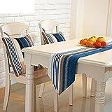 Mesas de comedor Grand chenilla rayas azul/Camino de mesa mesa de centro/telas decorativas-A 23x190cm(9x75inch)