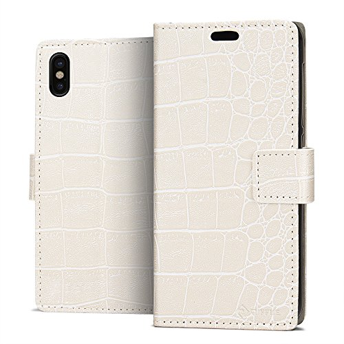 Cover iPhone X, Riffue® Apple iPhone 10 Custodia Cuoio Sintetico Fine di Alta Aualità Slim Eleganti Moda con Portafoglio, Protezione Completa 360 Gradi, Cocodrillo, Cover per Apple iPhone X 2017 - Vio Bianco