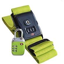 Globeproof® Cinghia per Valigia & Lucchetto per Valigia TSA – Set da viaggio di tracolla (Neon Viaggi Cintura)
